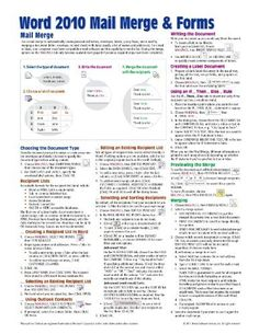 Microsoft Word 2010 Mail Merge & Forms Quick Reference Guide (Cheat Sheet of Instructions, Tips & Shortcuts - Laminated Card) by Beezix Inc.. $3.60. Publication: December 31, 2010. Author: Beezix Inc.. Publisher: Beezix Inc. (December 31, 2010)