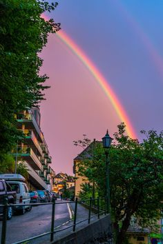 Sunset rainbow in Bergen City in Norway by Christina Zelow Lundquist on Anime Scenery Wallpaper, Iphone Wallpaper Tumblr Aesthetic, Iphone Background Wallpaper, Aesthetic Pastel Wallpaper, Aesthetic Backgrounds, Aesthetic Wallpapers, Galaxy Wallpaper, Nature Aesthetic, Beautiful Nature Wallpaper