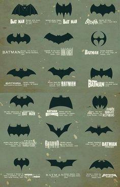 """los diferentes """"logos"""" de Batman durante el tiempo..."""