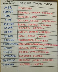 Medical terminology for body parts/organs