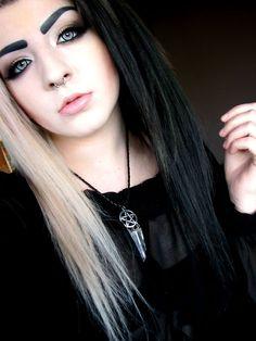 Half blonde half black dyed alternative hair