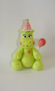 Edible Fondant Cake Toppers - Birthday Hippo via Etsy @Becky Evans , maybe for Kenzie's first birthday :)