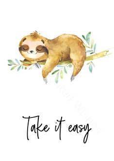 Sloth Quotes Printable Prints Set of 3 - Sloth Pictures Wall Art - Printable Wall Art