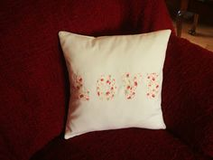 'Love' cushion Handmade by Rebekah Love S, Cushions, Throw Pillows, Handmade, Cushion, Decorative Pillows, Craft, Pillows, Decor Pillows