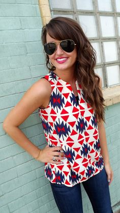 Great sleeveless print top.