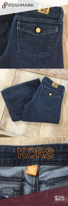 "• MK Bootcut Jeans • Waist is 14 1/2"". Inseam is 30"". Opening of the leg on the button is 10 3/4"". Normal wear. Some scratches on the buttons but no stains rips or holes. KORS Michael Kors Jeans Boot Cut"