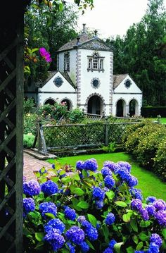 The lovely Bodnant Gardens (National Trust) in North Wales, have wonderful views of the Snowdonia mountains, and a variety of beautiful plants.