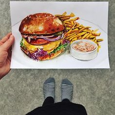 A speed art burger is done. 🍔 inspired by . Speed Art, Food Painting, Personal Portfolio, Food Drawing, Bratislava, French Fries, Food Illustrations, Salmon Burgers, Food Styling