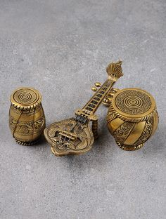 Buy Golden Sitar Tabla Dugi (Set of 3) 7in x 2.5in 2.2in Brass Art Collectibles Tales Home Accents Online at Jaypore.com