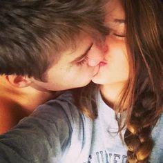 Kissing selfie.