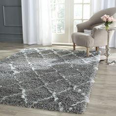 Moroccan rugs for bedroom. Safavieh Moroccan Shag Grey/ Ivory Trellis Rug x Plush Area Rugs, Casual Decor, Trellis Rug, Lattice Design, Online Home Decor Stores, Online Shopping, Grey Rugs, Living Room Bedroom, Bedroom Kids