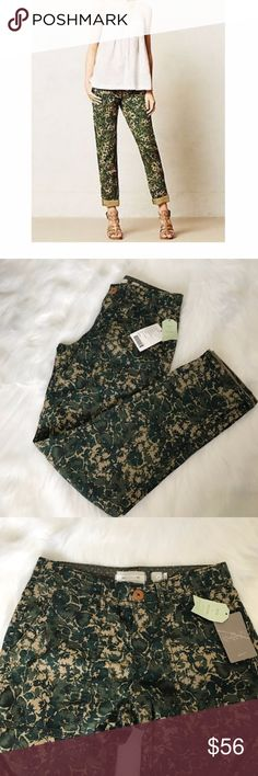 HEI HEI ANTHROPOLOGIE RollUP Cargo Chino Camo NWT! HEI HEI ANTHROPOLOGIE Sylvan Moto Roll Ups Cargo Chinos Camo Floral Green. Mid-rise pants. Anthropologie Pants