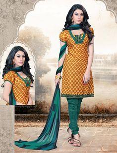 Mustard Cotton Printed Churidar Suit 63862
