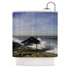 East Urban Home Hut with Crashing Waves Shower Curtain