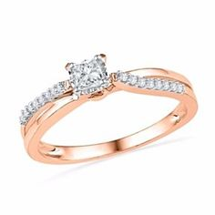 1/4Ct Square Princess-Cut Real Diamond Split Shank Promise Ring In 10K Rose Gold # With Free Stud Earrings by JewelryHub on Opensky