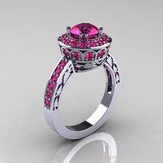 10K Weissgold 10 Karat rosa Saphir Ehering von DesignMasters, $1089.00
