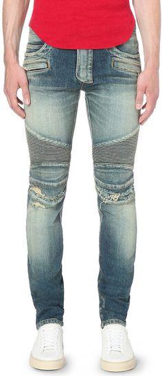 770377c1 Balmain - Blue Slim-Fit Distressed-Denim Biker Jeans for Men - Lyst