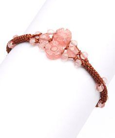 Love this Cherry Quartz & Red Silk Adjustable Bracelet by Taolei on #zulily! #zulilyfinds