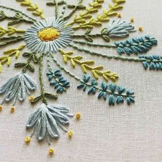 Mandala for Sweet Baby Juniper # Wacholder Embroidery- Mandala für süßen Baby Wacholder Stickerei Mandala for sweet baby juniper - Crewel Embroidery Kits, Embroidery Flowers Pattern, Simple Embroidery, Modern Embroidery, Hand Embroidery Designs, Ribbon Embroidery, Cross Stitch Embroidery, Embroidered Flowers, Embroidery Supplies