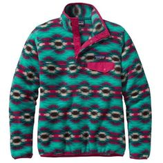 Patagonia Women's Synchilla Snap-t Lightweight Pullover ($99) ❤ liked on Polyvore featuring tops, sweater pullover, patagonia, print pullover, patagonia pullover and print top