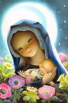Virgen con flores