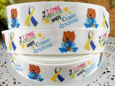 Items similar to Down Symdrome Teddy printed grosgrain ribbon for Hairbow on Etsy Awareness Ribbons, Grosgrain Ribbon, Hair Bows, Printed, Etsy, Ribbon Hair Ties, Hair Ornaments, Hairbows, Curl Formers