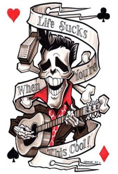 rockabilly tattoos | Elvis Skeleton Medium By Spot On George Tagged Elvispresley