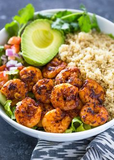Shrimp Avocado Quinoa Bowls