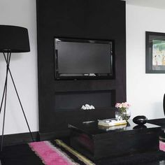 black pillar wall for tv to mount on