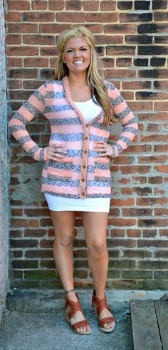 Peach and Gray Cardigan With White Mini Dress