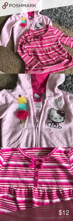 2 piece clothes Hello kitty pink zip up hoodie. Hello kitty in glitter on one side and cute ice cream cone on other side. Faded glory long sleeve top. Red, shades of pink, white and silver stripes. 3 buttons and bow in front. Both good condition. No holes or stains. Shirts & Tops Sweatshirts & Hoodies