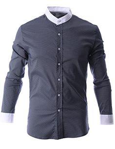 FLATSEVEN Mens Mini Check Plaid Mandarin Collar Button Down Shirt (SH1015) Black, XL FLATSEVEN http://www.amazon.com/dp/B00N4RUBVO/ref=cm_sw_r_pi_dp_bsl0ub1PFDZS0 #Casual shirts #men #fashion #FLATSEVEN     #shirts