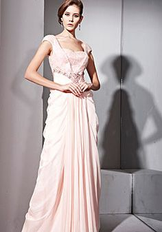 Pink Sequined Long Cap Sleeves Evening Dress