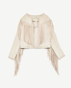 Image 8 of FAUX SUEDE JACKET WITH FRINGE from Zara