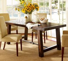Benchwright Fixed Dining Table - Rustic Mahogany stain | Pottery Barn (actual pottery barn table)