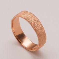 Fur No.2 - 18K Rose Gold Unisex Wedding Ring, Gold Band, Wedding Band, Men' s Ring, Men's Gold Band on Etsy, $780.00