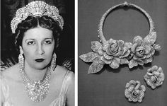 """To get a sense of the crown jewels, which had mysteriously disappeared from the state treasury, one only need observe the pieces of """"dubious provenance"""" that occasionally surface at international auction houses. A few years ago Sotheby's auctioned off a stunning necklace of three dimensional life-size, voluptuous roses. Covered completely in pavé diamonds, it was commissioned by Queen Nazli in 1938, who wore it to her daughter Fawzia's wedding the year after to the Shah of Iran."""