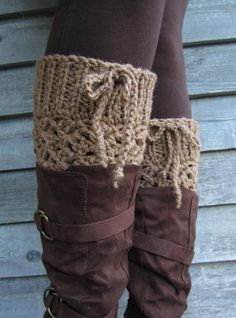 "THICK Cafe Latte Adjustable 7"" Long Crocheted Boot Cuffs with Ties. $20.00, via Etsy."
