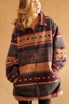 90s fashion, bohemian sweater jacket, winter hippie fashion Fleece Sweater, Sweater Jacket, Hipster Fashion, Boho Fashion, 90s Fashion, Winter Hippie, Color Khaki, Aesthetic Fashion, Types Of Sleeves