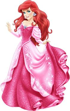 Ariel in a new sparkling pink dress