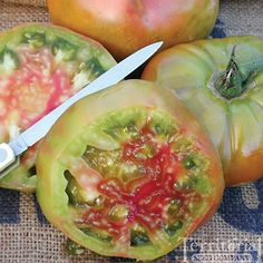 """This looks interesting: Ananas Noire tomato. """"Also known as Black Pineapple, this is one of the most interesting tomatoes we offer. The skin has shades of green, purple, orange, and yellow. Bright green flesh has bursts of red streaks that will definitely add intrigue to your vegetable platter. The lip smacking flavor starts out sweet and ends with the perfect amount of tang. What's more, the sprawling indeterminate plant yields a tremendous amount of 1 1/2 pound fruits."""""""