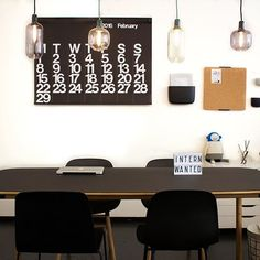 office space, form table and chair and amp lamps from Normann Copenhagen