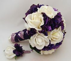 Purple White Real Touch Flowers Bridal Bouquet Bridesmaid Bouquet