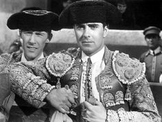 "John Carradine and Tyrone Power in ""Blood and Sand"" directed by Rouben Mamoulian, 1941 Tyrone Power, Hooray For Hollywood, Golden Age Of Hollywood, Hollywood Stars, Classic Hollywood, John Carradine, T Power, Movie Couples, Most Handsome Men"