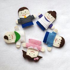 Finger Family Felt Puppets, Finger Family, Daddy, Mommy, Brother, Sister, Baby, Felt Puppet, Nursery Rhyme, Mother Goose, Finger Puppets