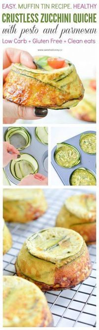 Single Serve CRUSTLESS ZUCCHINI QUICHE with Pesto and Parmesan. Low carb, 8.5g of net carbs per serve, fullfilling with 18.5g protein per serve. An healthy brunch recipe for the eggs lover. Clean eating quiche. Paleo + low carb. Muffin tin eggs recipe. Paleo Quiche, Zucchini Quiche Recipes, Healthy Quiche Recipes, Low Carb Quiche, Vegetarian Quiche, Zuchinni Quiche, Healthy Egg Recipes For Dinner, Recipes For Brunch, Lunch Recipes