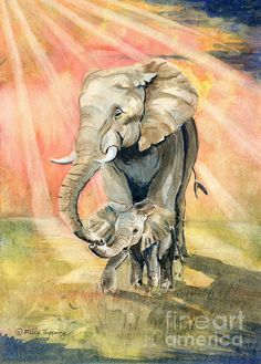 Watercolor of sweet baby elephant and mom!