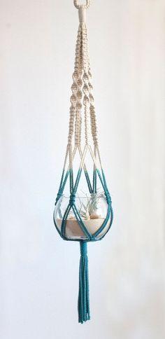 Items similar to Macrame Kleiderbügel und Terrarium - Dip gefärbten - blaugrün on Etsy