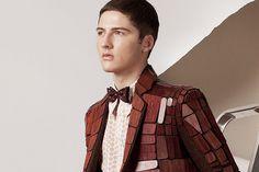 "Yan Liang London College of Fashion MA ""Mixture"" Collection Wooden Purse, London College Of Fashion, Headgear, Wood Design, Classic Style, Gentleman, High Fashion, Fashion Accessories, Suit Jacket"