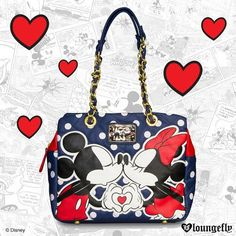 Take a little bit of mouse magic with you everywhere you go with this Mickey & Minnie Kissing Shoulder Bag from Loungefly.com  http://www.loungefly.com/brands/disney/mickey-minnie-kissing-shoulder-bag.html